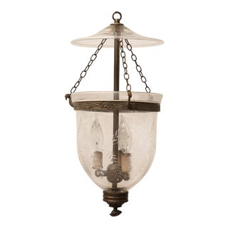 Late 19th Century English Hand Blown Etched Bell Jar Hall Lantern For Sale