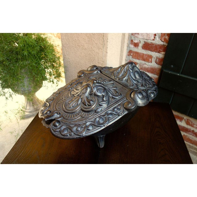 Antique French Gothic Victorian Cast Iron Fireplace Coal Hod For Sale - Image 11 of 11