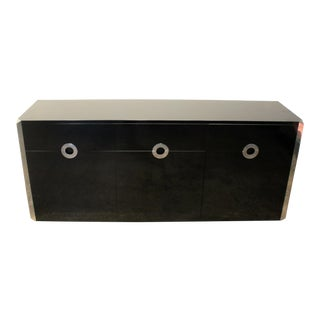 Willy Rizzo for Mario Sabot Black Laminate and Chrome Steel Sideboard, 1970's