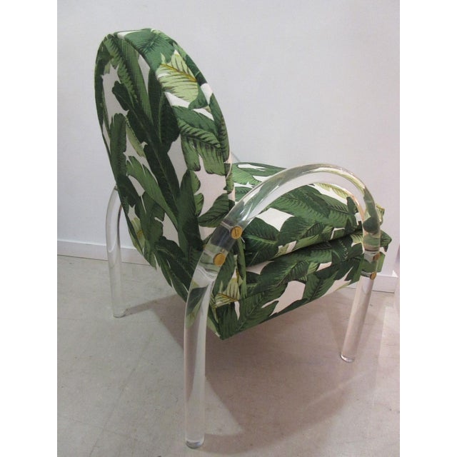 Pair of Vintage Lucite Armchairs by Lion in Frost With Banana Leaf Upholstery For Sale - Image 9 of 10