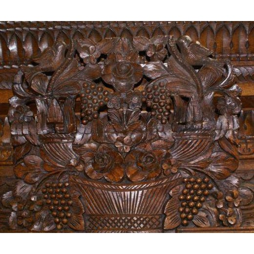 Carved Oak Marriage Armoire - Image 6 of 7