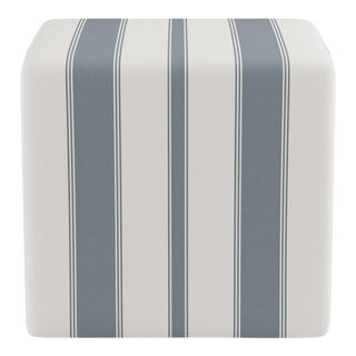 Cube Ottoman in French Blue Clarence Stripe For Sale