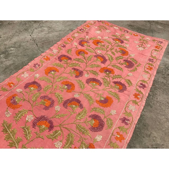 Pink Silk on Cotton Floral Table Runner - Image 6 of 6