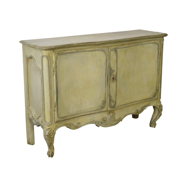 Antique 18th Century French Louis XV Style Painted 2 Door Console Server For Sale