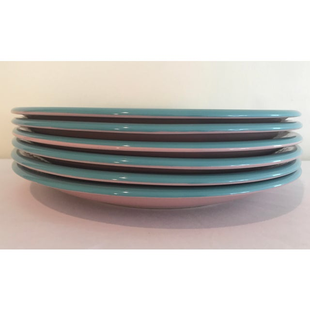 Mid-Century Modern Century Rio Pink & Turquoise Stoneware Dinner Plates - Set of 6 For Sale - Image 3 of 6