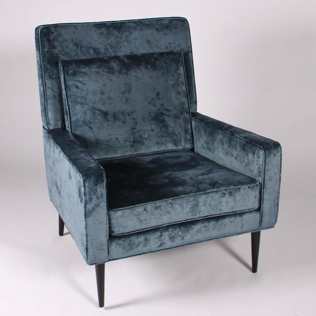 Milo Baughman 1950s Blue Velvet Lounge Chair and Ottoman For Sale - Image 4 of 11