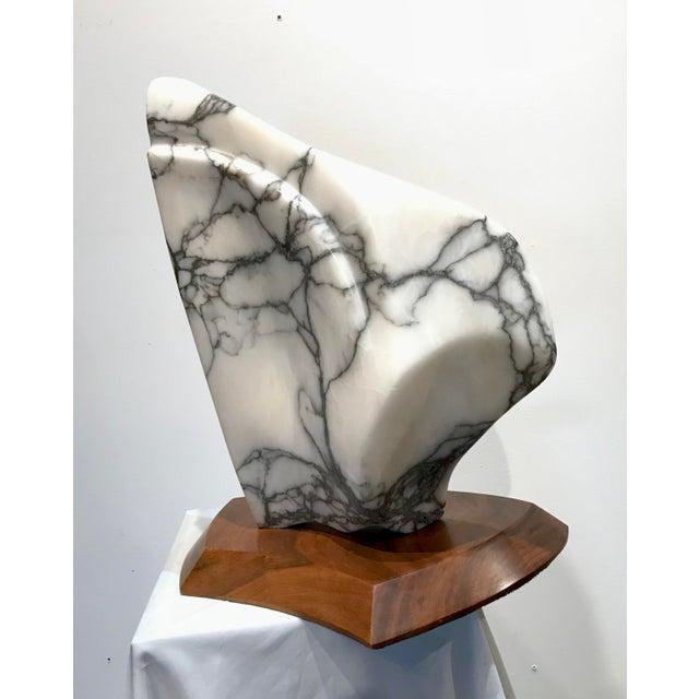 Modernist Marble Sculpture on Walnut Plinth Base For Sale - Image 11 of 12