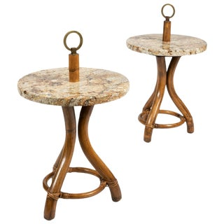Pair of Rattan & Brass Side Tables For Sale
