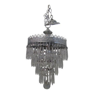 American Arts and Crafts Chrome and Crystal Chandelier For Sale