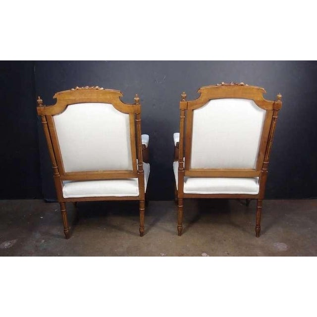 A Pair of French Louis XVI Style Fateuils For Sale - Image 4 of 7