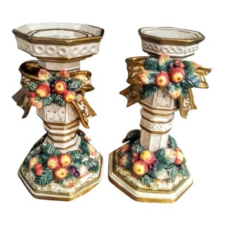 A Pair Fitz and Floyd Apple Bow Snowy woodsCeramic Candle Holders For Sale
