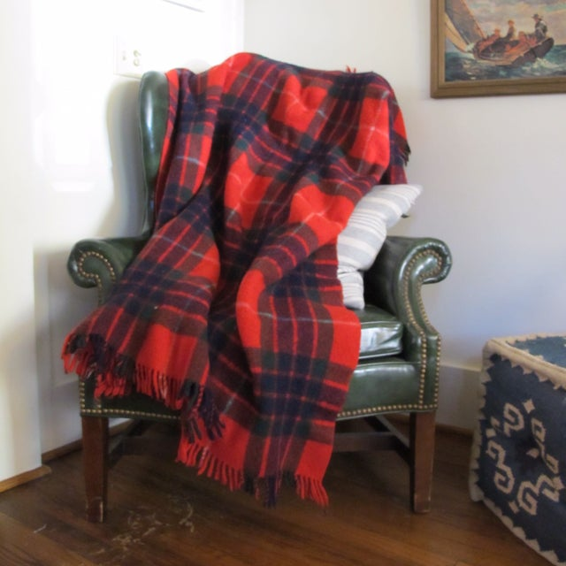 Classic Plaid Wool Blanket For Sale - Image 5 of 5