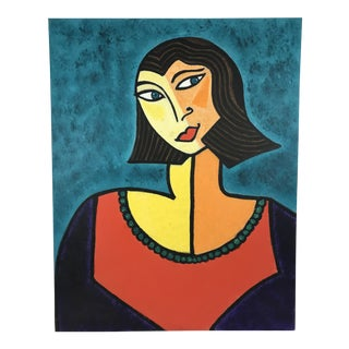 Late 20th Century Cubist Inspired Portrait of Woman Painting For Sale