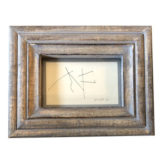 Original Vintage Robert Cooke Miniature Abstract Ink Drawing Framed For Sale
