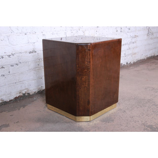 Milo Baughman for Thayer Coggin Maple and Brass Cube Side Table For Sale - Image 9 of 9