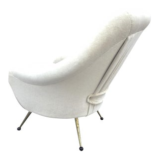 Marco Zanuso for Early Martingala Chair Newly Covered in Mohair Cloth For Sale