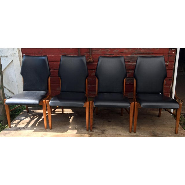 Fabulous Set of 4 vintage mid-century modern high back walnut dining chairs by Lane Furniture Co, c.1950's. They are...