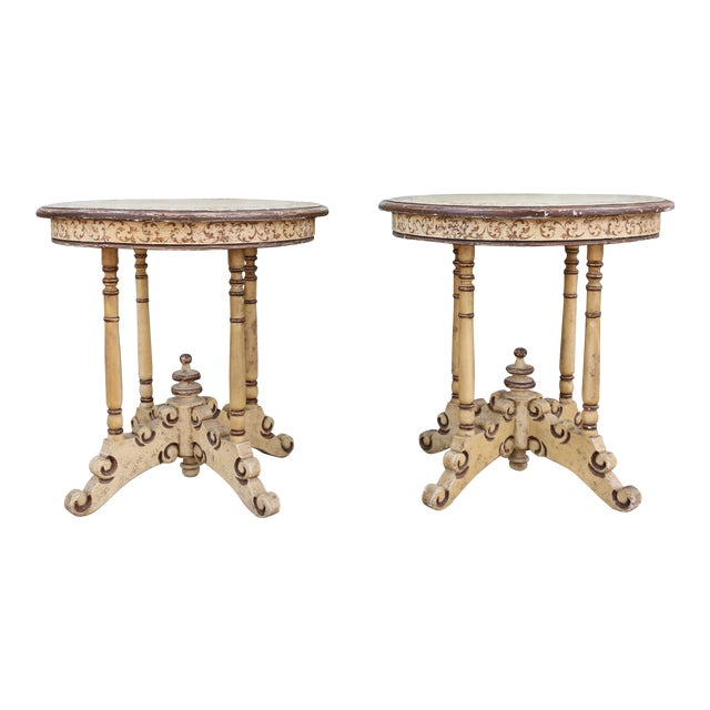 1950s Campaign Carved and Hand Painted Tall Center Tables - a Pair For Sale