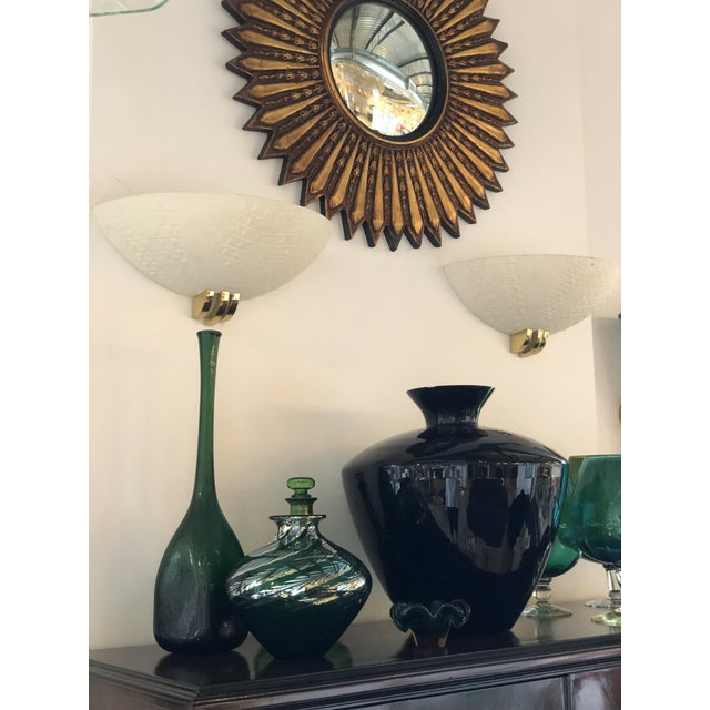 Mid Century Modern Hollywood Glam Ron Seff Plaster & Brass Sconces Karl Springer Style - Image 5 of 8
