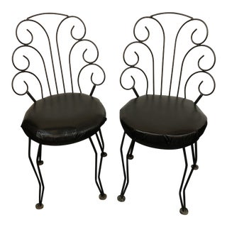 1920s Vintage Antarenni Wroght Iron Chairs- A Pair For Sale