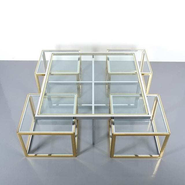 Maison Charles Square Segment Bicolor Brass Glass Coffee Table by Maison Charles, France 1975 For Sale - Image 4 of 13