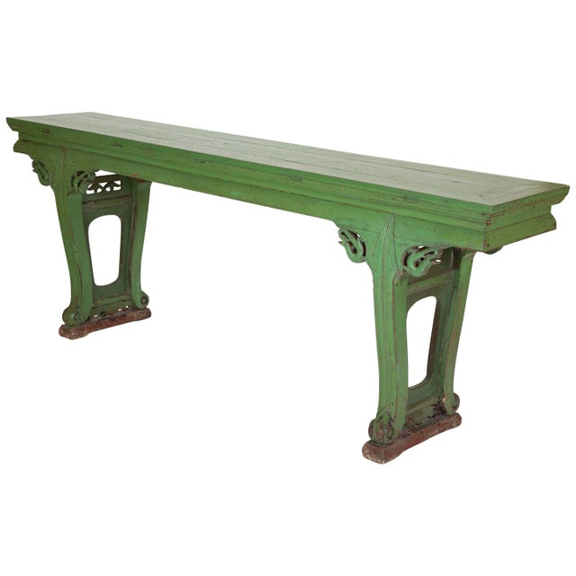 Green Painted Chinese Console Table, Large Scale For Sale - Image 13 of 13