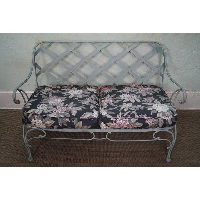 Custom Floral Cushion Iron Patio Settee - Image 8 of 10