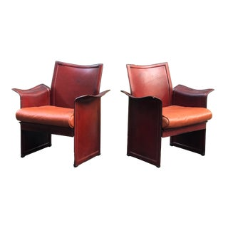 "1970s Tito Agnoli ""Korium"" Armchairs for Matteo Grassi in Cognac Leather - a Pair For Sale"