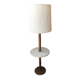 Vintage Wood Floor Lamp With Marble Table For Sale