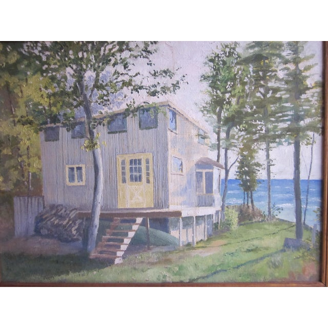 Green 1971 Vintage Rural Cottage Scene Signed Acrylic on Canvas Painting For Sale - Image 8 of 10