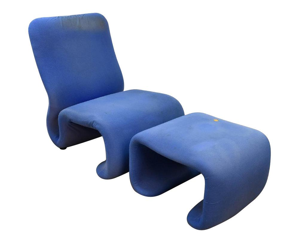 Mid Century Modern Sculptural Swedish Chair And Ottoman In The Style Of The  Etcetera Chair