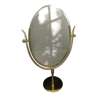 Charles Hollis Jones Brass Wishbone Vanity Mirror For Sale