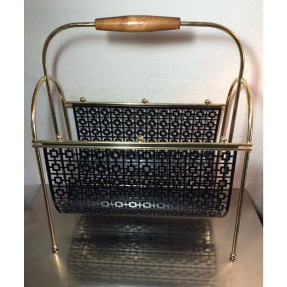 Mid-Century Brass and Black Metal Magazine Rack - Image 2 of 4