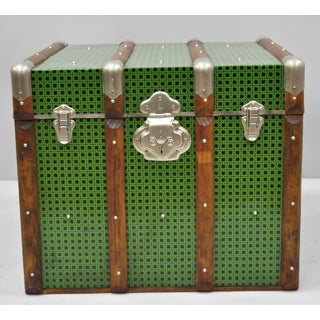 Vintage Mid Century Green Faux Cane Rattan Wicker Trunk Preview