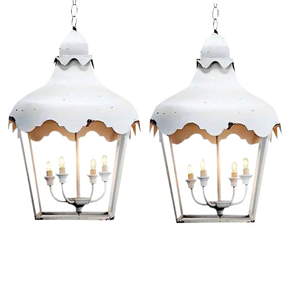 Chinoiserie Brighton Pagoda Style Tole Lanterns - a Pair For Sale