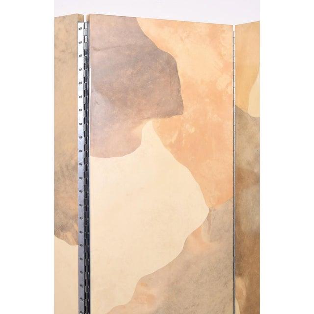 Artist/Designer; Manufacturer: Karl Springer, attributed; Karl Springer, Ltd., attributed Screen has three panels....