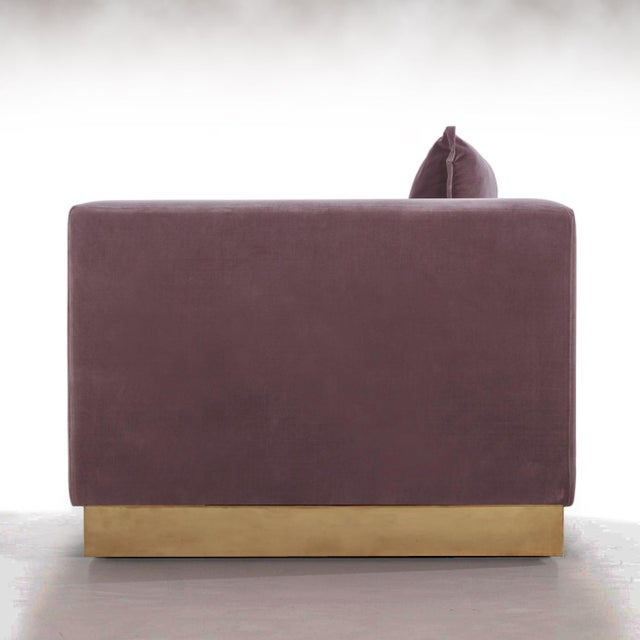 Contemporary Contemporary Dusty Lavender Mohair Velvet Lounge Club Chair For Sale - Image 3 of 4