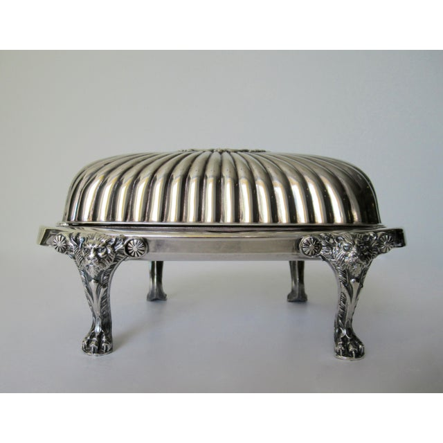 1950s Wm. Rogers Silver Plate Platform Claw Footed Domed Butter Dish -2 Pieces For Sale - Image 5 of 13