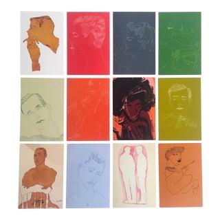 """Andy Warhol Foundation Rare Vintage """"Men"""" Pop Art Collector Postcard Prints - Set of 12 For Sale"""
