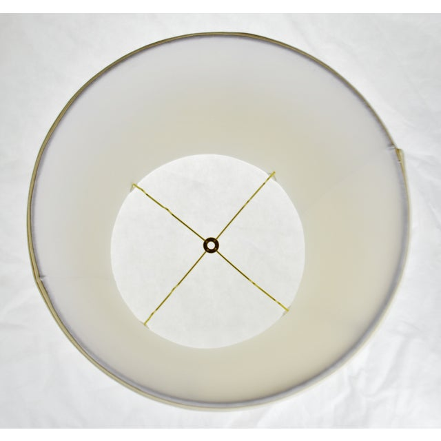 Textile Vintage Fabric Lined Drum lampshade W/ Spider Reflector Fitter For Sale - Image 7 of 11