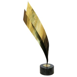 Abstract Brass Table Sculpture by Curtis Jere 1984 For Sale