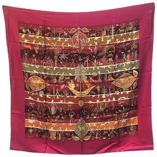 Hermes Rives Fertiles Silk Scarf in Magenta For Sale