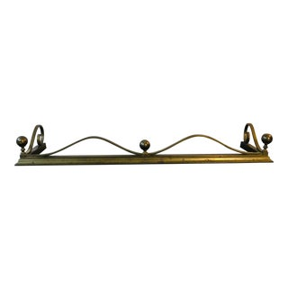 Antique Brass Fireplace Fender With Finials For Sale