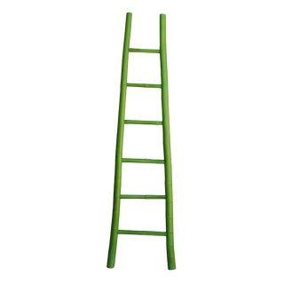 Lime Green Oriental Bamboo Ladder Shape Display Towel Rack Wall Panel For Sale