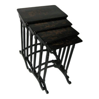 19th Century Black Lacquered Japanned Chinoiserie Nesting Tables - Set of Four For Sale