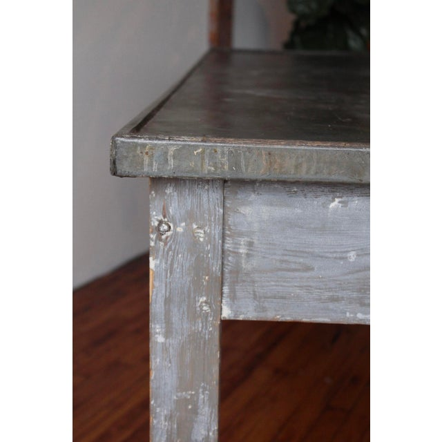 1920s Antique French Zinc Work Table For Sale - Image 5 of 7