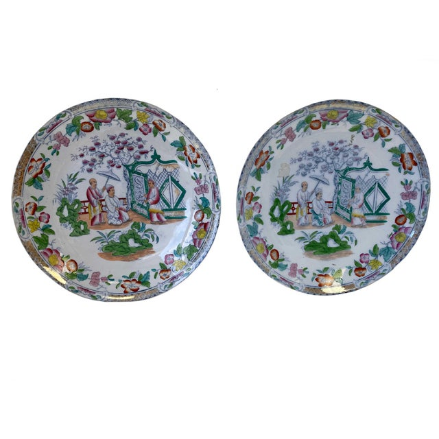 Green Chinese Figural Famille Rose Plates - a Pair For Sale - Image 8 of 8