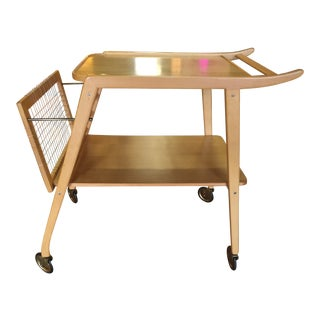 1960s Swedish Birch Breakfast Trolley For Sale