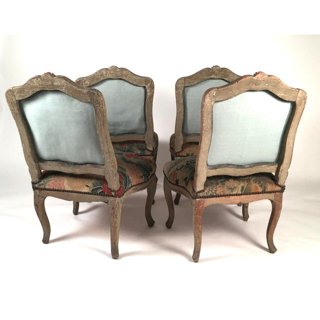 French French Louis XV Chairs with Period Floral Needlework Upholstery- Set of 4 For Sale - Image 3 of 11