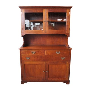 20th Century Early American Style Solid Cherry Glass Front China Hutch Preview
